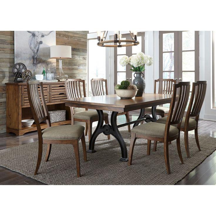 Liberty Arlington House Cobblestone Opt 7-piece Trestle Table Set