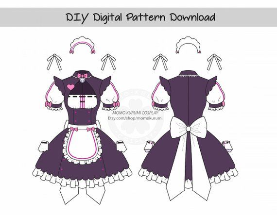 Diy Neko Maid Pattern Size Small Etsy Maid Outfit Anime Maid Outfit Drawing Anime Clothes
