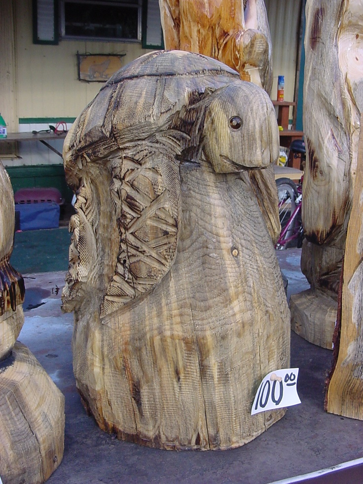 Turtle chainsaw carving made in wonderful wyoming by