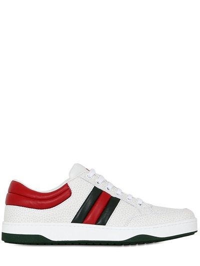 GUCCI RONNIE HAMMERED LEATHER SNEAKERS, WHITE. #gucci #shoes #sneakers
