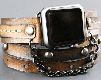 CUCKOO NEST ART STUDIO APPLE STRAP DESIGN This listing is for the WATCH STRAP BAND + connector only, Apple Watch is not included. All the Apple Watch bands are available in two sizes for 38mm and 42mm Apple Watch models. The leather cuff is 2 inches wide. This band has a hole underneath the watch for the heart rate monitor function. THIS BAND IS MADE TO ORDER, please use the following measuring technique to determine your wrist size and leave a note at checkout or a message. MEASURE YOUR…