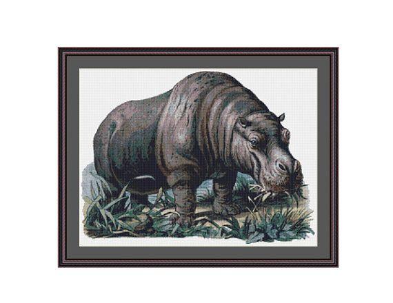 Hippopotamus Counted Cross Stitch Pattern / Chart, Instant Digital Download  (AP369)