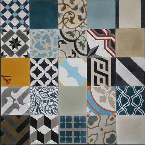 Moroccan encaustic cement pattern pre sealed random mix for Bathroom ideas 9x6