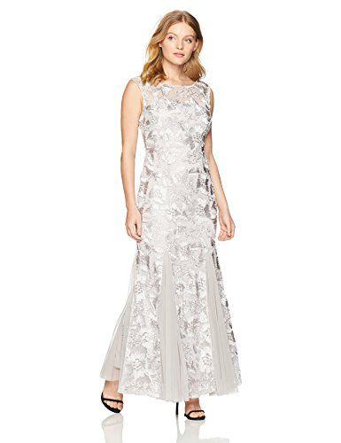 379867cfa96 Alex Evenings Women s Petite Embroidered Dress with Illusion Neckline