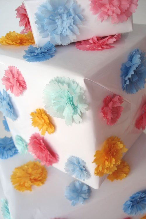 DIY:: Pretty Pom Pom Wrapping For Holidays or Any Occasion- You Choose the Colors !