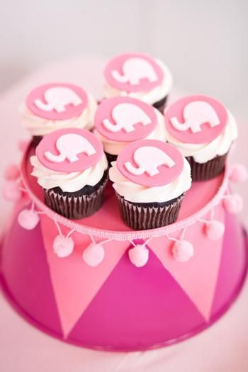 Pink Elephant Cupcakes. SO cute for a baby shower.