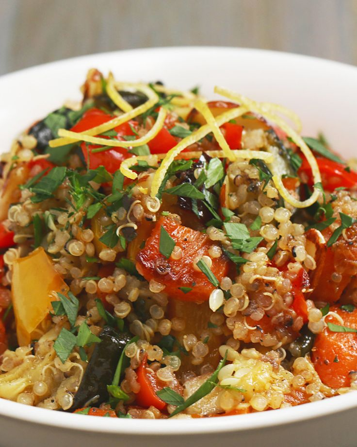 Eat Your Colors With This Roasted Veggie vegetables Quinoa Bowl ... I would love to add roasted egg plant to this