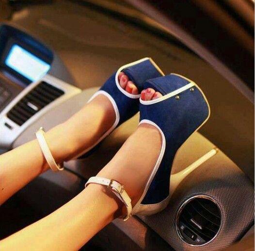 Shoes ♡ Denim inspired Heels
