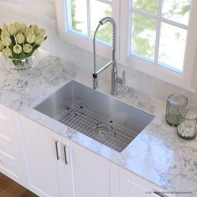 "Kraus Handmade Stainless Steel 16 Gauge 30"" x 18"" Undermount Kitchen Sink with Faucet Finish: Chrome"