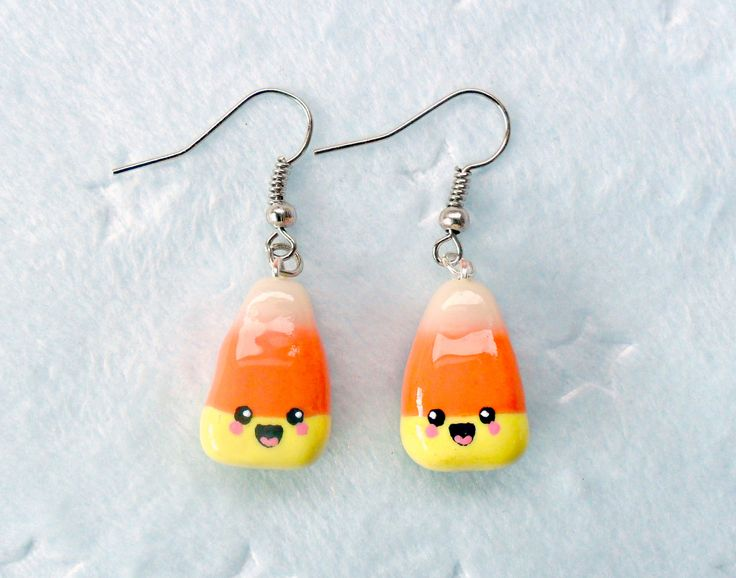 kawaii earrings | Kawaii Candy Corn Earrings D by aLilBitOfCute on Etsy