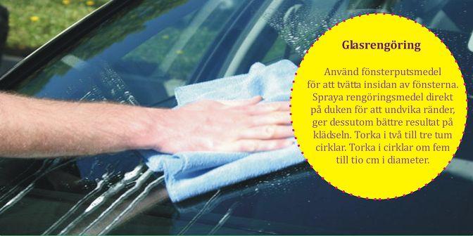 För att undvika ränder, använd en fönsterputs gjord för fordon och torka med skrynkligt tidningspapper i stället för pappershanddukar. Du kan också tvätta dina fönster med vanligt vatten och en ren frottéhandduk.  #billigadäck