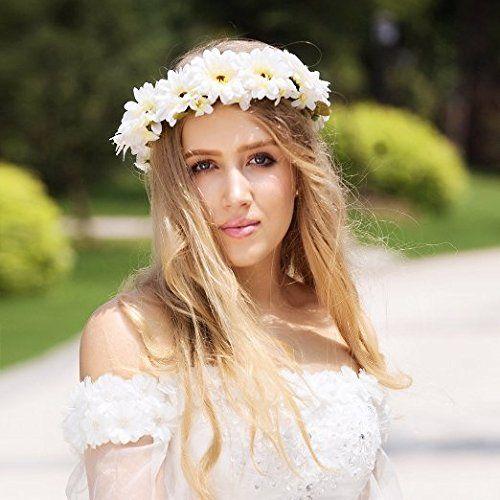 Valdler Couronne Bandeau Tête Guirlande Cheveux Fleur de Marguerite Déco Coiffure Femme pour la Cérémonie de Mariage: Amazon.fr: Cuisine & Maison