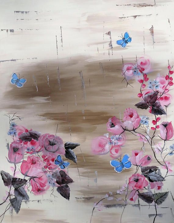 Roze rozen olieverf schilderij handgemaakt kado voor haar
