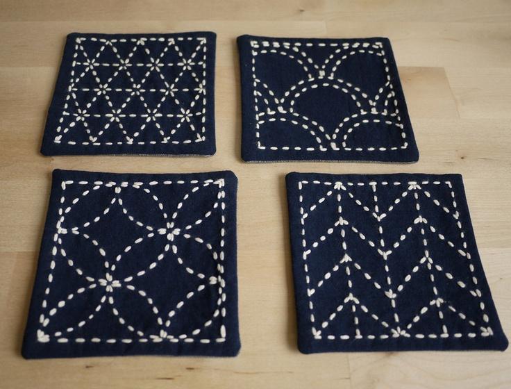 DIY Kit Sashiko Embroidery: Genki Coasters, via Etsy.