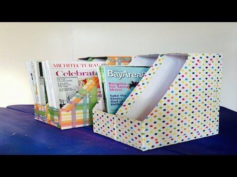 Como Hacer Organizador de Libros y Revistas hecho de Cajas de Cereal Recicladas - YouTube