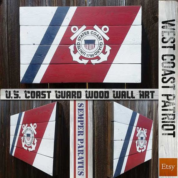 This USCG symbol is handcrafted on wood, painted over a dark stained wood finish. We use an 8 step process to create this beautiful piece. It is absolutely stunning in person. Show your support for your favorite military branch!  Makes a great gift for any patriot, veteran, or active duty service member. Includes hanging hardware. Dimensions are 22×14  Every piece is unique and slight size variance may occur both the wood. and finish.