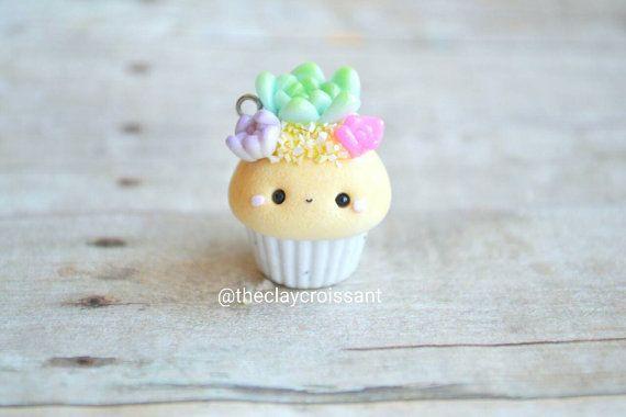 Kawaii Succulent Cupcake - Charm, Polymer Clay Charm, Jewelyr, Food Jewelry, Pendant, Floral, Cute
