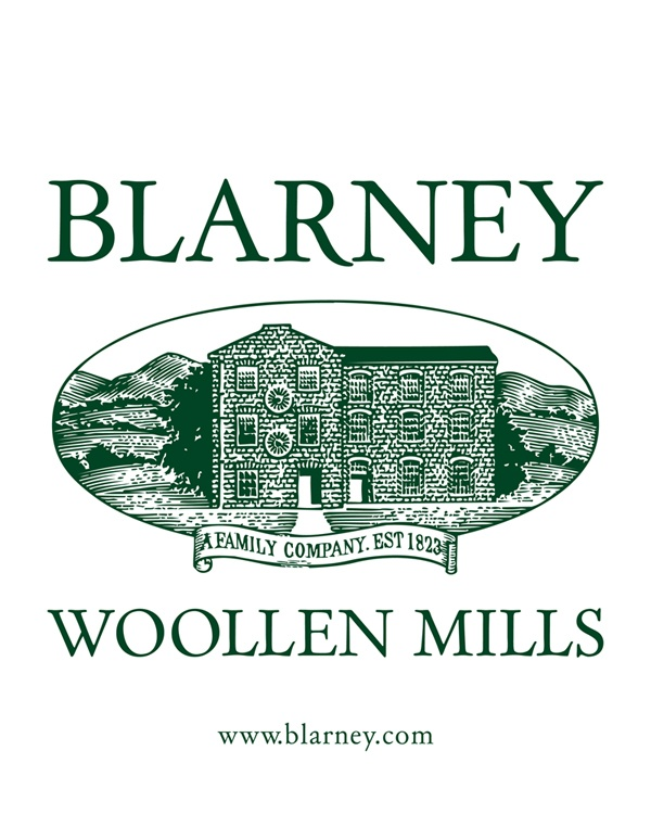 Blarney Woollen Mills traditional Logo.     Blarney is one of Ireland's oldest family run businesses. Established in 1823, the Blarney Woollen Mills complex has seen many changes throughout the years and is now the Largest Irish Store in the World, also selling online with Free Delivery Worldwide @ www.blarney.com.