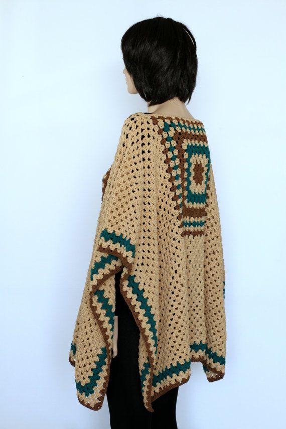 Extra Large Beige tan Indian Granny Poncho by ettygeller on Etsy