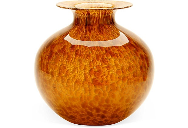 Mottled glass tortoiseshell vase on onekingslane