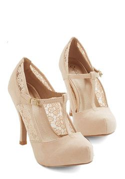 Gander at Glamour Heel in Ivory. Take one lovely look at these ivory heels and youre sure to fall in love! #cream #prom #wedding #bridesmaid #bride #modcloth