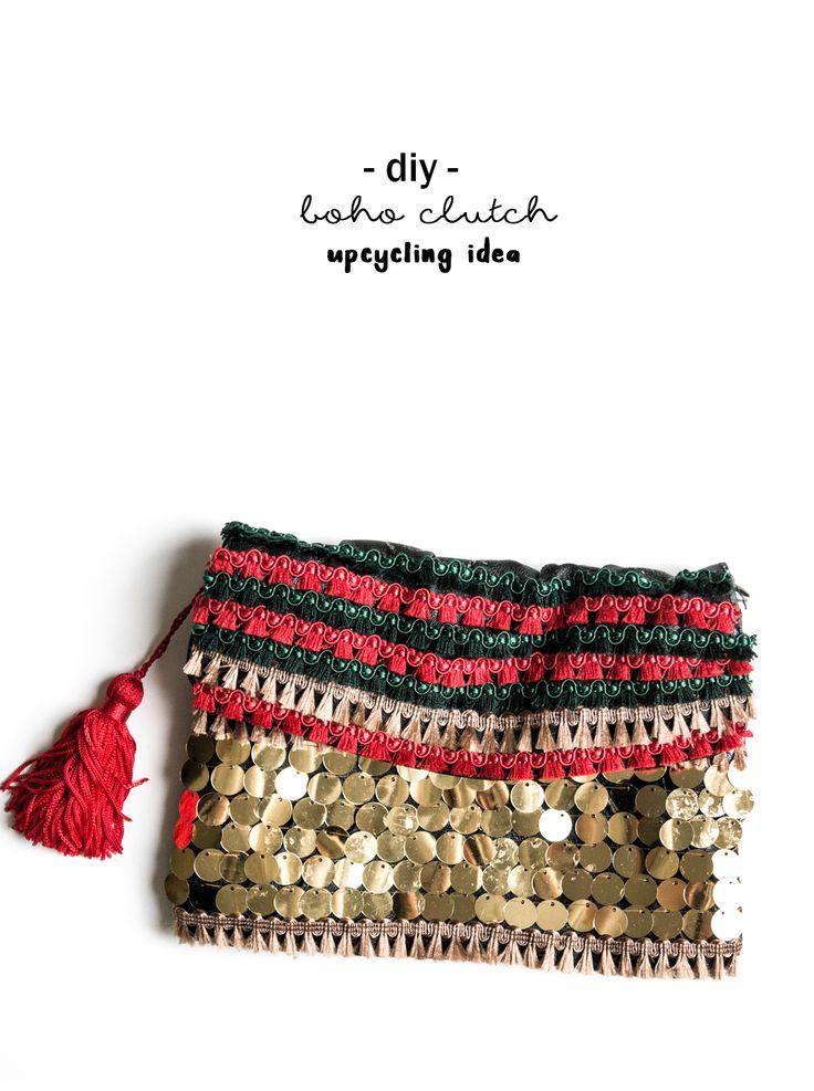 DIY Boho Clutch Tasche | Upcycling Idee | buntes Fashion Accessoire selbstgemacht | Ethno Look | Pailetten und Quasten | Tassels | Do it yourself bag | Anleitung Tutorial | einfache Idee | idea | Deko | bag boho no sew |