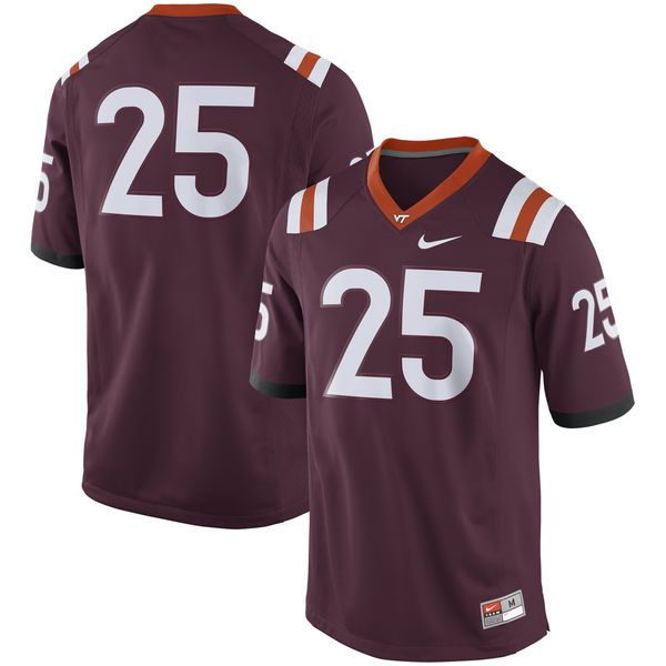Men's Nike #25 Maroon Virginia Tech Hokies Game Football Jersey