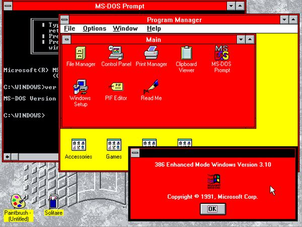 A picture of Windows 3.11 with the Hot Dog theme
