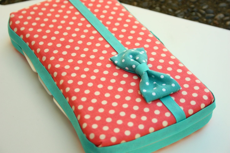 Baby Wipes Case - Stylish and trendy baby wipes cover- For girls - Pink polka dots with handmade bow. $16.00, via Etsy.
