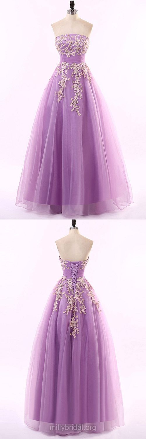 Noble Prom Dresses, 2018 Prom Dresses, Princess Formal Dresses, Strapless Party Dresses, Tulle Appliques Lace Evening Dresses, Long Prom Dresses