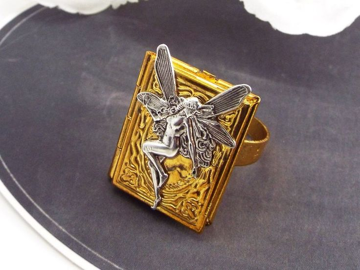 Fairy Book Locket Fantasy Ring , Silver and Gold Plated $14 via @shopseen
