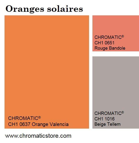Les oranges solaires restent une valeur sure en décoration, légèrement ponctués de tons de corail.   Ils se marient également avec des gris chauds ou métalliques : ainsi, les ambiances s'adoucissent tout en conservant un caractère vitaminé. www.chromaticstore.com