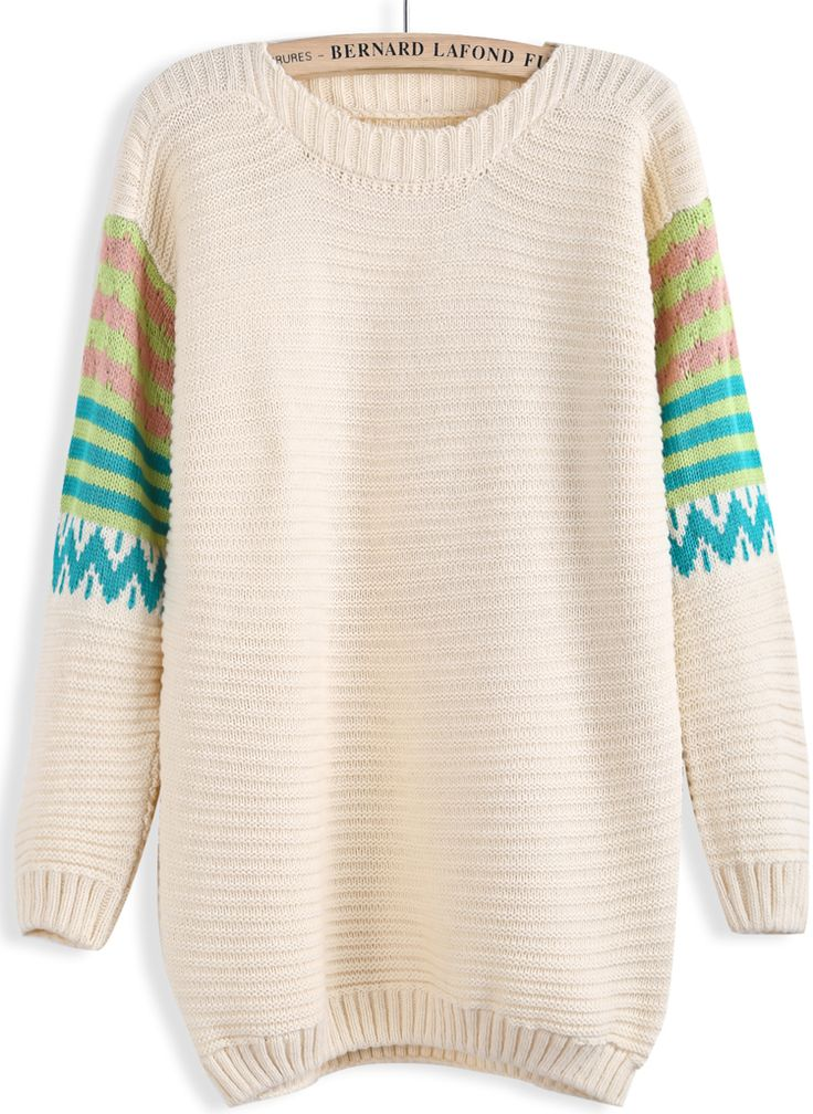 Apricot Contrast Striped Long Sleeve Sweater US$22.13