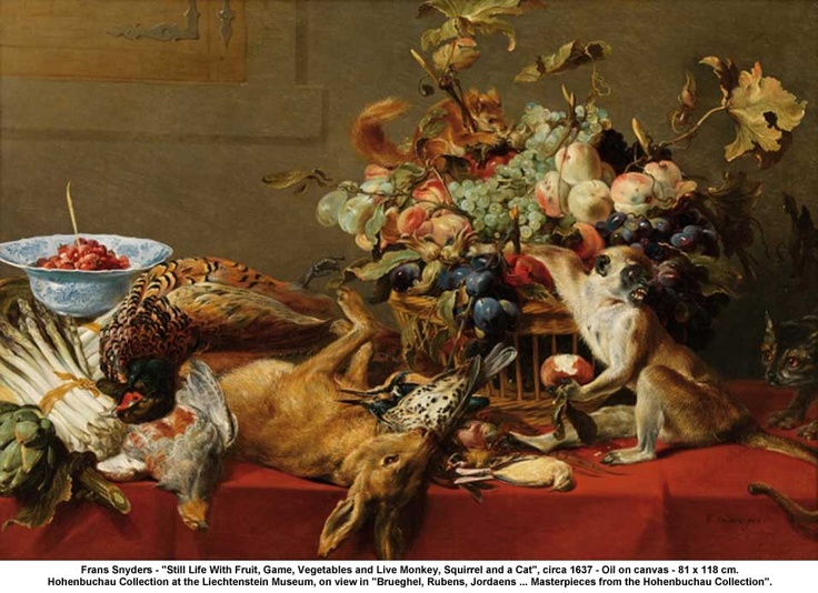 Frans Snyders, Still life with Fruit, Game, Vegetable and live Monkey, Squirrel and a Cat, 1637: