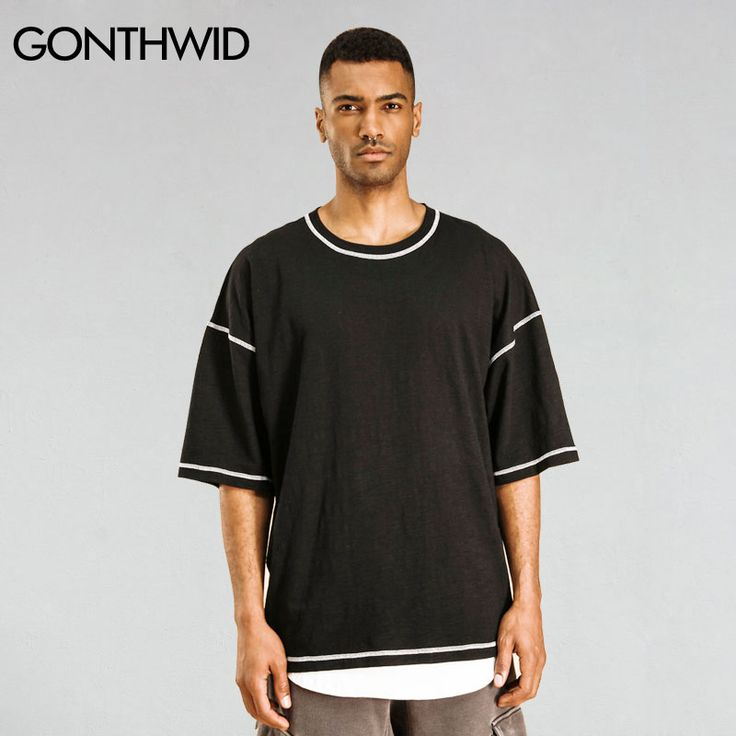 ==> [Free Shipping] Buy Best GONTHWID Men's Oversized Drop Shoulder T Shirts Hip Hop Solid Color Extra Loose Cotton Short Sleeve Tops Tees Fashion Streetwear Online with LOWEST Price | 32806905478