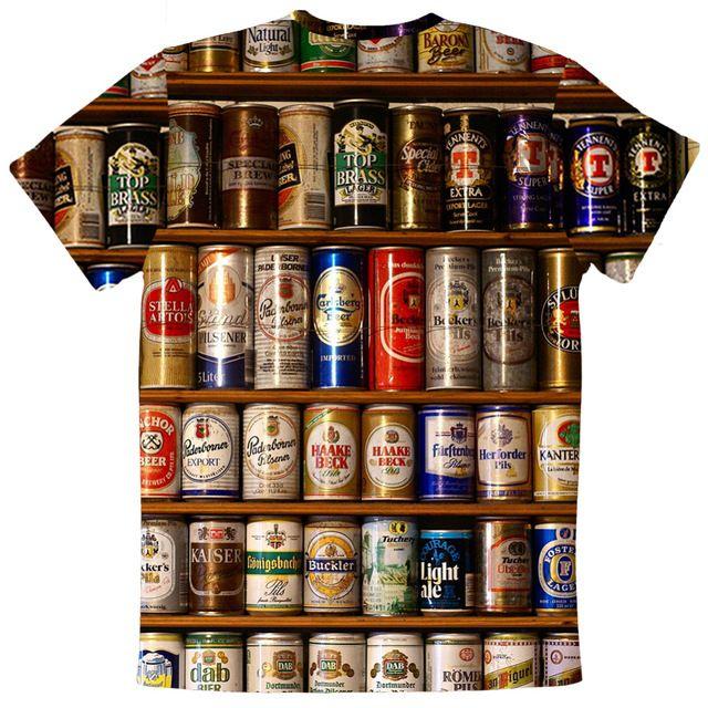 New Fashion beers Mens T-Shirt Tshirt O-Neck Normal  Summer  Personality Fashion men t-shirts