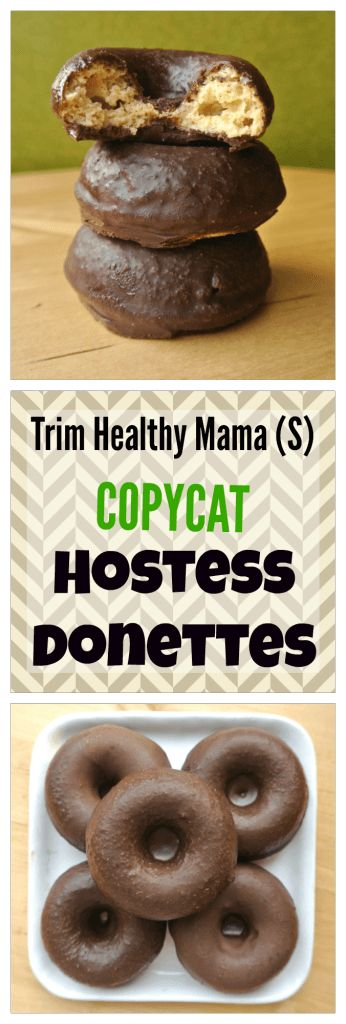 Trim Healthy Mama (S) Copycat Hostess Donettes - coated in skinny chocolate, these tender buttermilk donuts taste just like the junky version! They're sugar-free, grain-free, and low-carb (made with my DIY low-carb baking blend!).