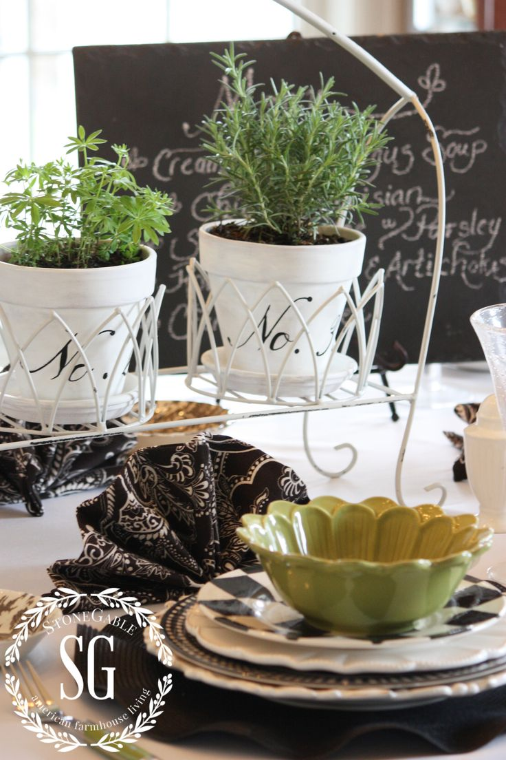 Herb Centrepiece Dining Room Table Ideas