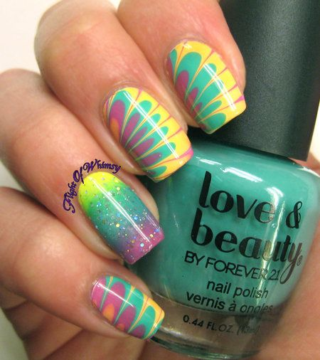 Tropical Marble #nails #nailart #nailblogger #beauty #polishlover #flightofwhimsy #marblenails - bellashoot.com
