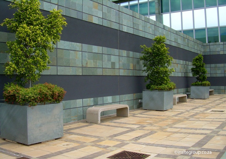 Vodacom in Midrand, South Africa also furbished their outdoor space with some of Insite's concrete benches.