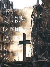 """9/11. The power of selective perception: to see a cross in the ruins, but not to see that the ruins themselves are blatantly inconsistent with the story that the World Trade Centre """"collapsed.""""                                                                                                                                                     More"""