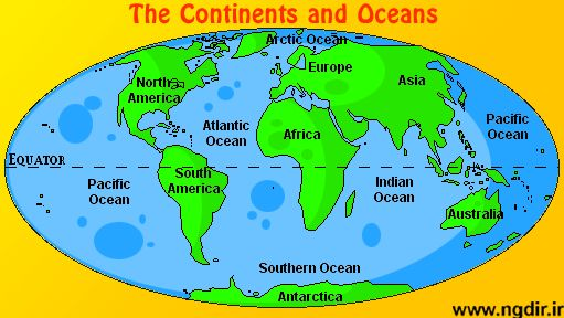 map of 7 continents and 5 oceans | Digital computer graphics map