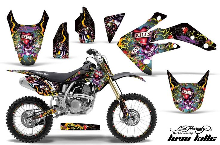 Honda CRF150R Motocross (2007-2011) - Ed Hardy Love Kills Slowly - Black MX Dirt Bike Graphic Kit