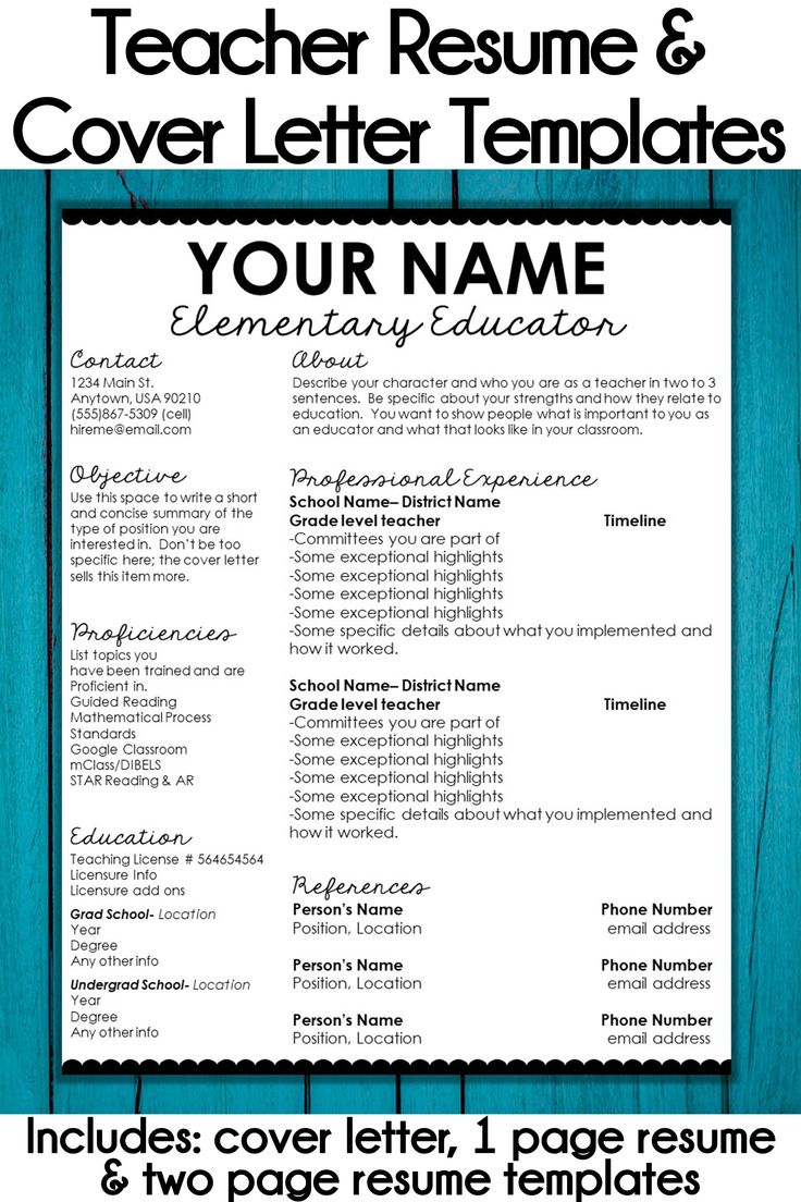 Editable Teacher Resume Template and Cover Letter Template