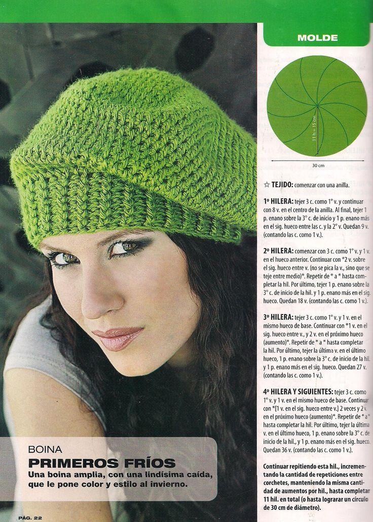 una boina tejida al crochet y su esquema: