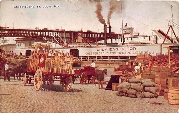 Postcard MO St Louis Levee Scene Cargo By Steam Ship 1941