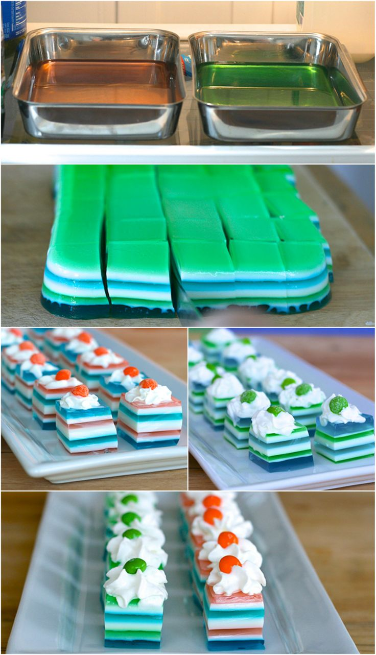 {Seattle vs. Denver} Jelly Shots ~ Show your team spirit with team color jelly shots for the big game day!