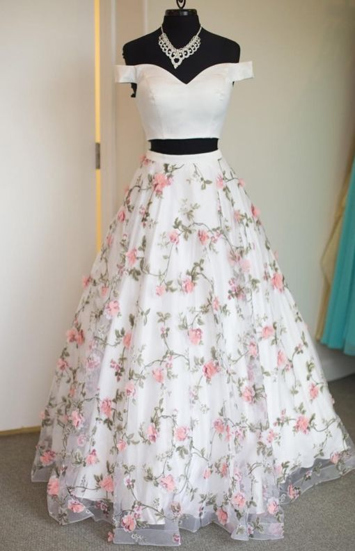 Two Piece Off the Shoulder Floral Prom Dress 2