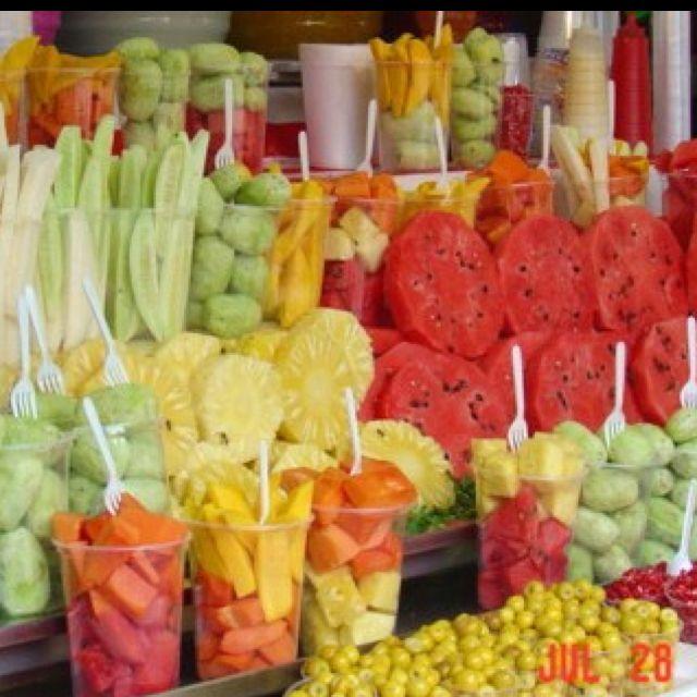 Fruit on display at the mercado, Mexico City. Con limón ,Chile y sal delicioso!