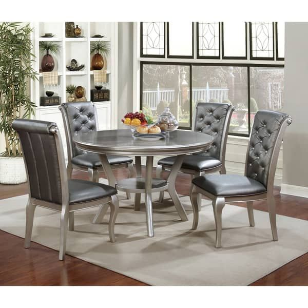 Contemporary Round Dining Room Tables Furniture Of America Mora Contemporary Champagne Round Dining